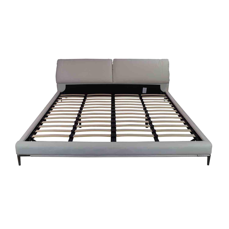 shop Modani White Leather Platform King Bed Frame Modani