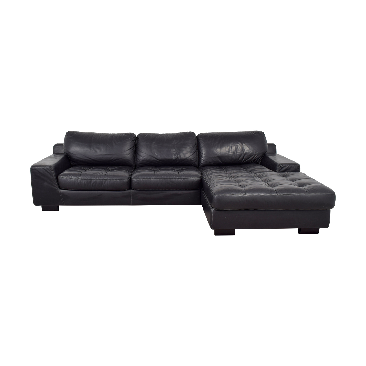 W. Schillig Black Tufted Leather Chaise Sectional W. Schillig