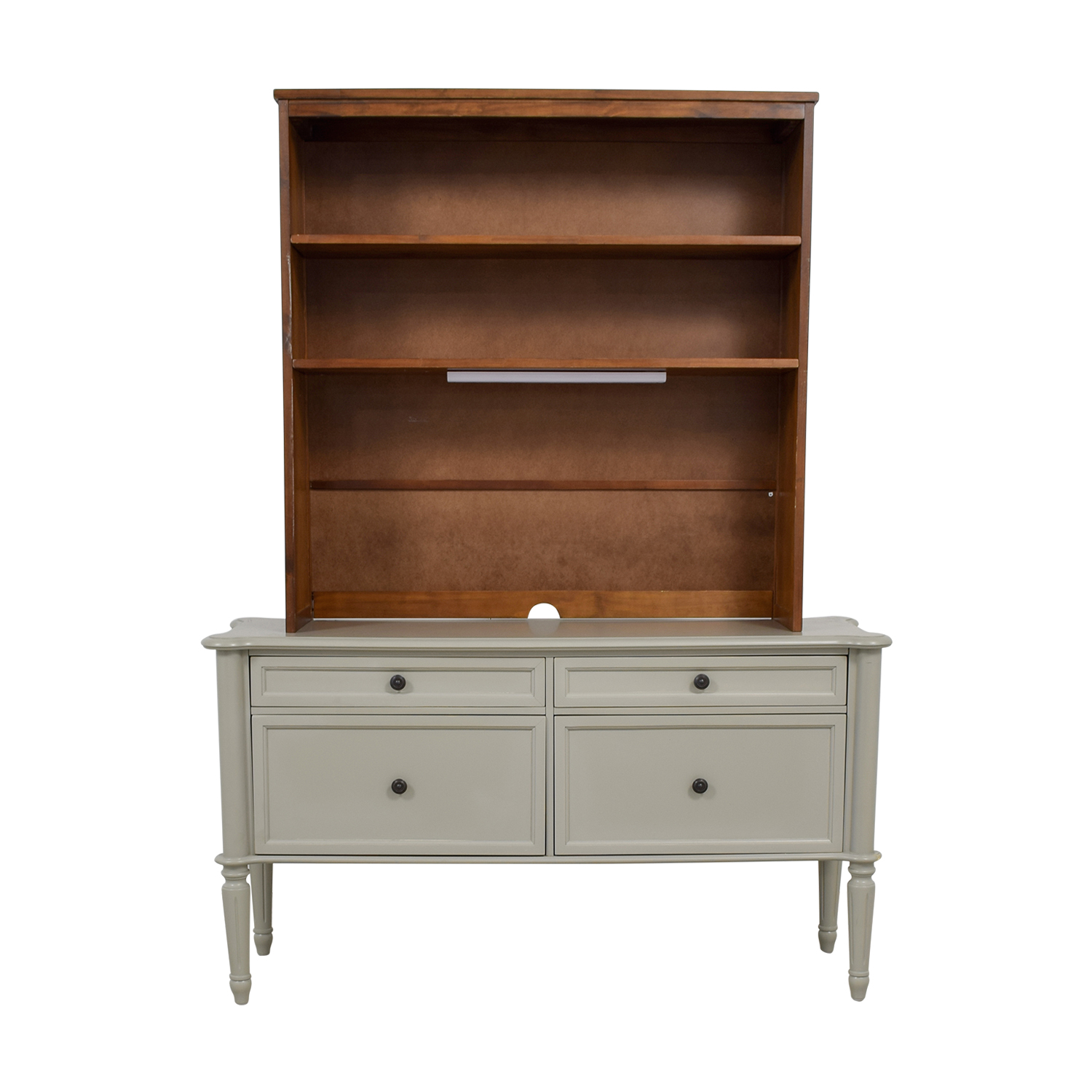 shop Grey Four Drawer File Cabinet With Wood Hutch