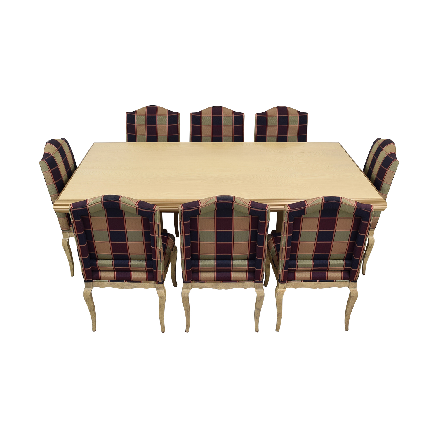 Custom Dining Set with Plaid Chairs nyc