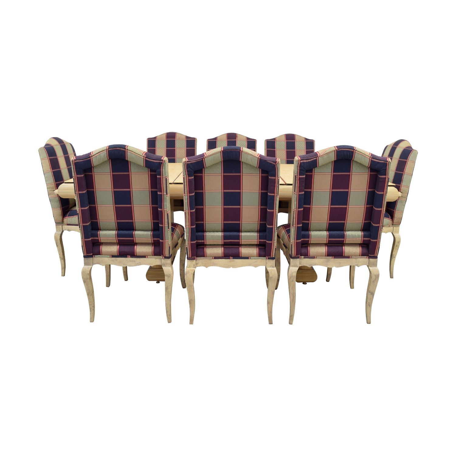 shop Custom Dining Set with Plaid Chairs  Dining Sets