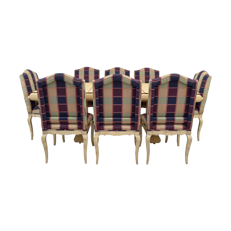 Custom Dining Set with Plaid Chairs second hand