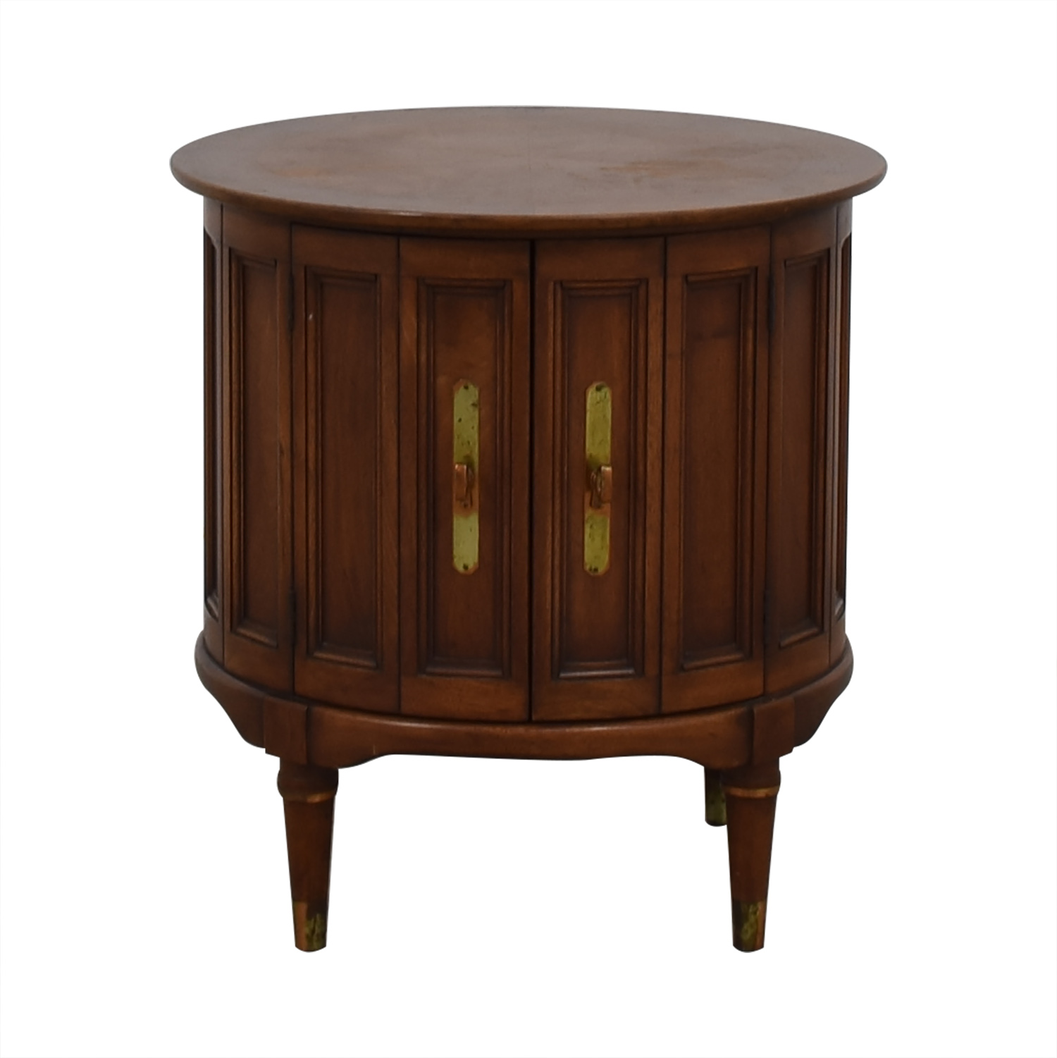 85 Off Antique Round Wood End Table Tables