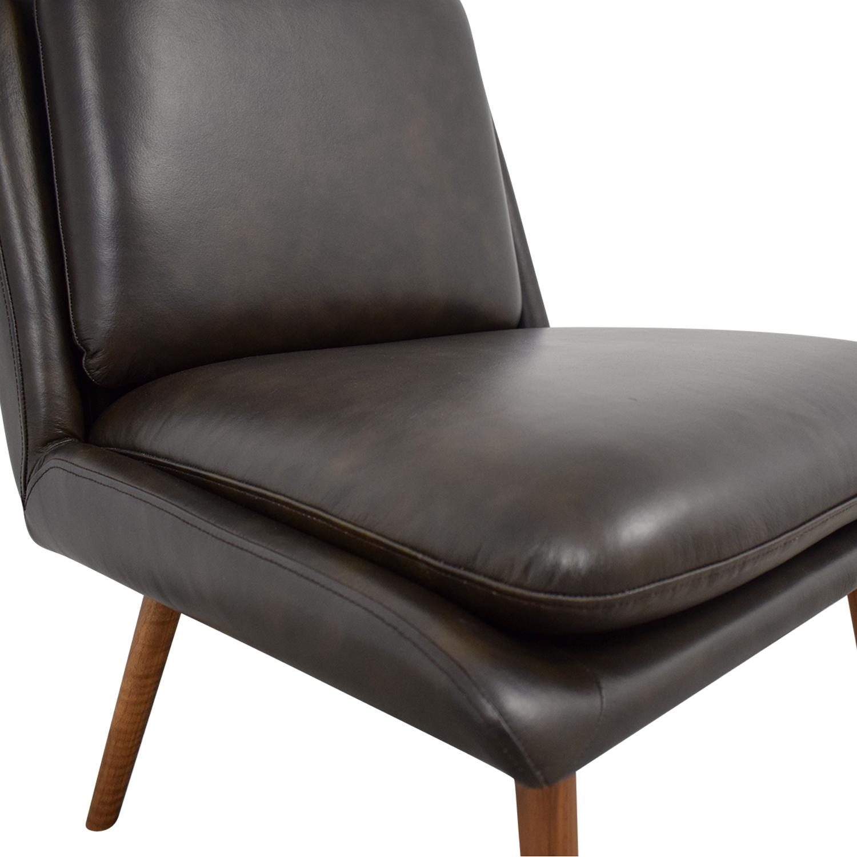 Peachy 66 Off Hana Brown Leather Slipper Chair Chairs Cjindustries Chair Design For Home Cjindustriesco