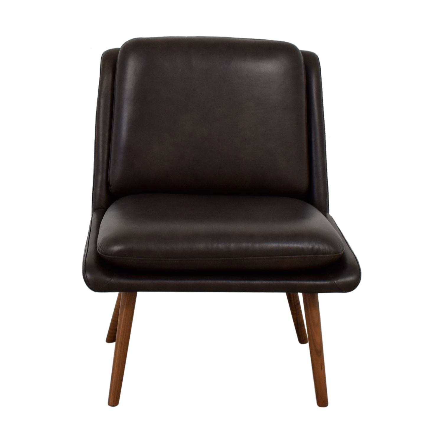shop Hana Brown Leather Slipper Chair  Accent Chairs