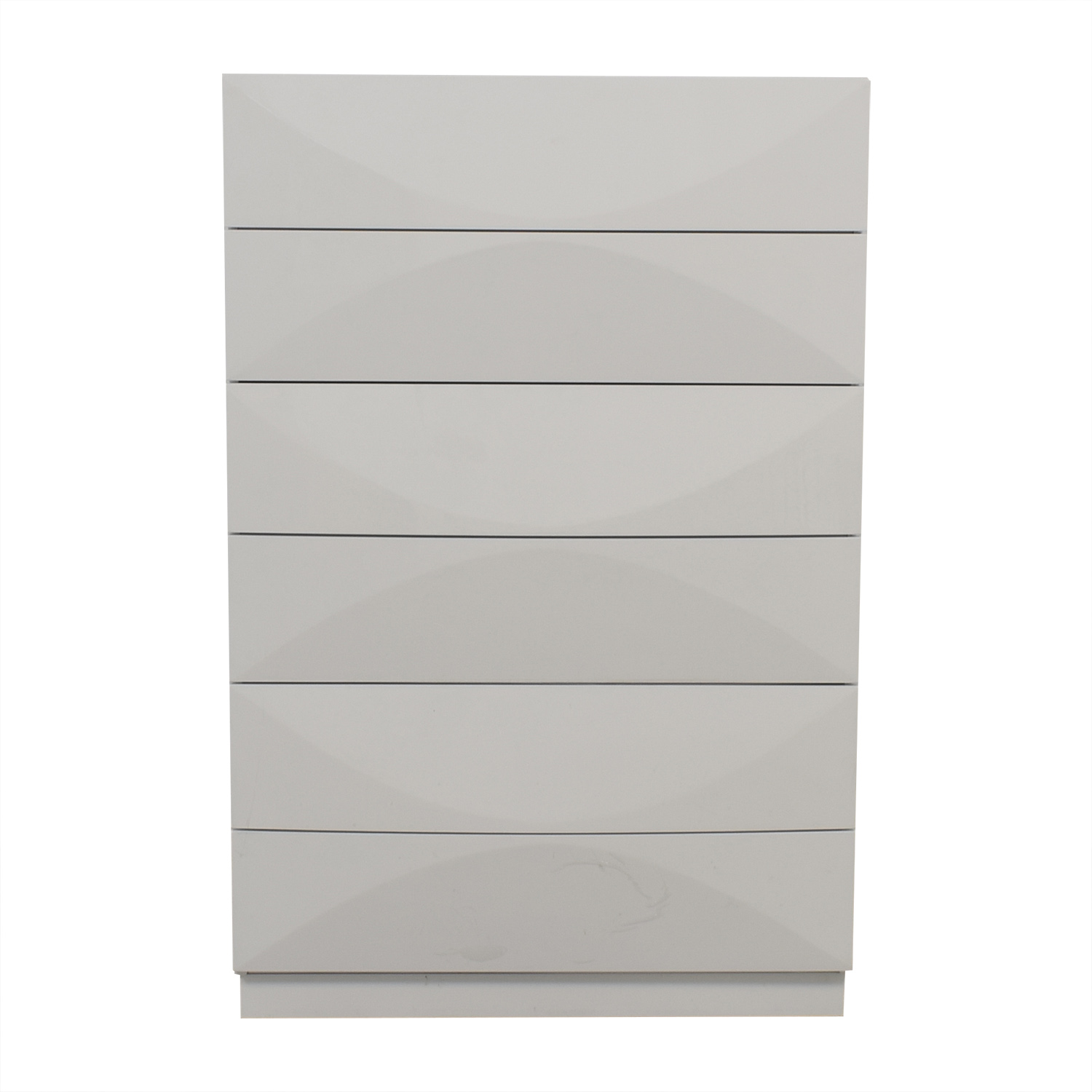 White Six-Drawer Tall Dresser Storage