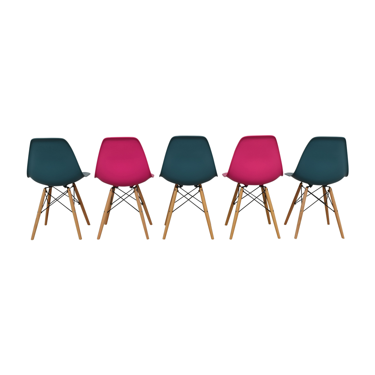 buy Mid-Century Pink and Teal Dining Chairs  Dining Chairs