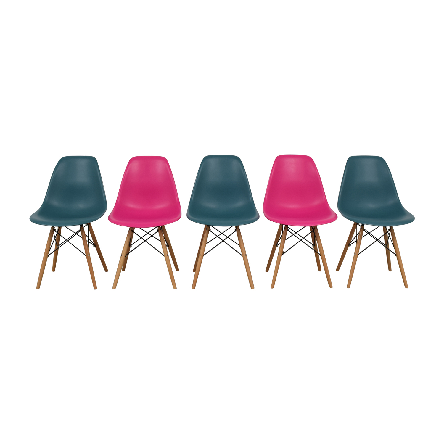 Mid-Century Pink and Teal Dining Chairs coupon