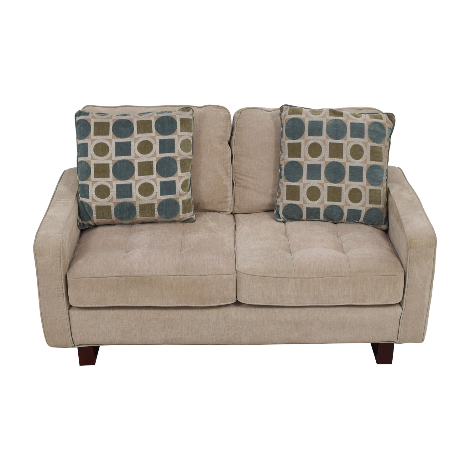 Beige Loveseat with Shapes Print Pillows coupon