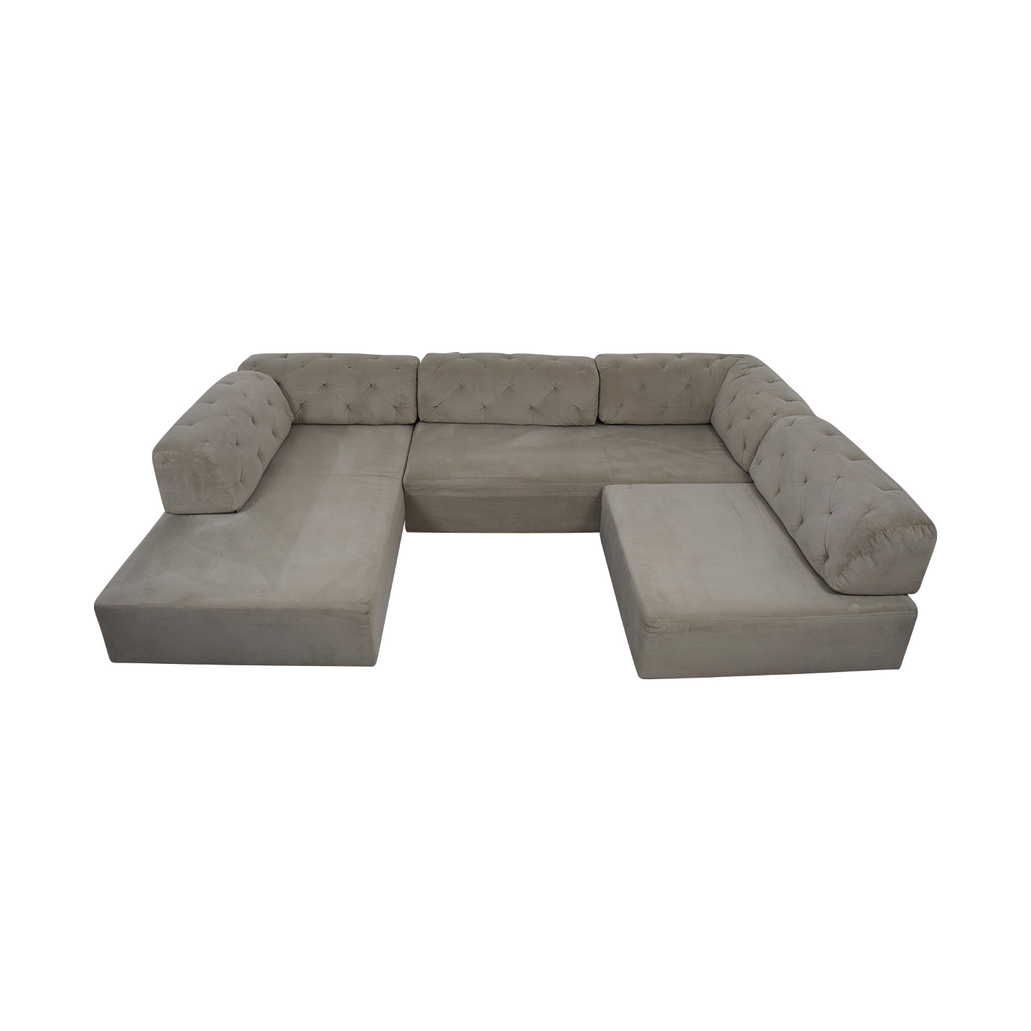 West Elm West Elm Tillary Grey Tufted U-Shaped  Sectional grey