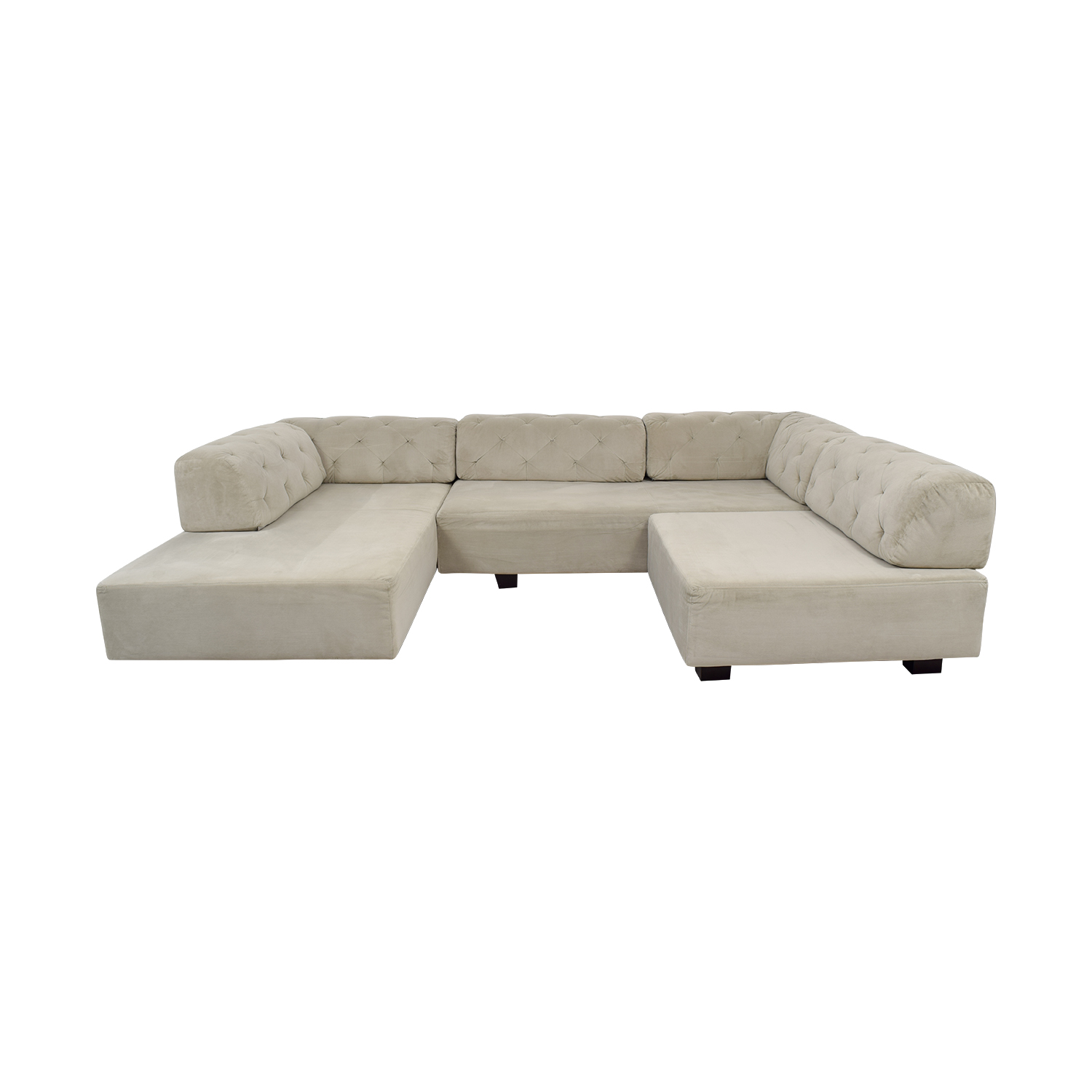 shop West Elm West Elm Tillary Grey Tufted U-Shaped  Sectional online