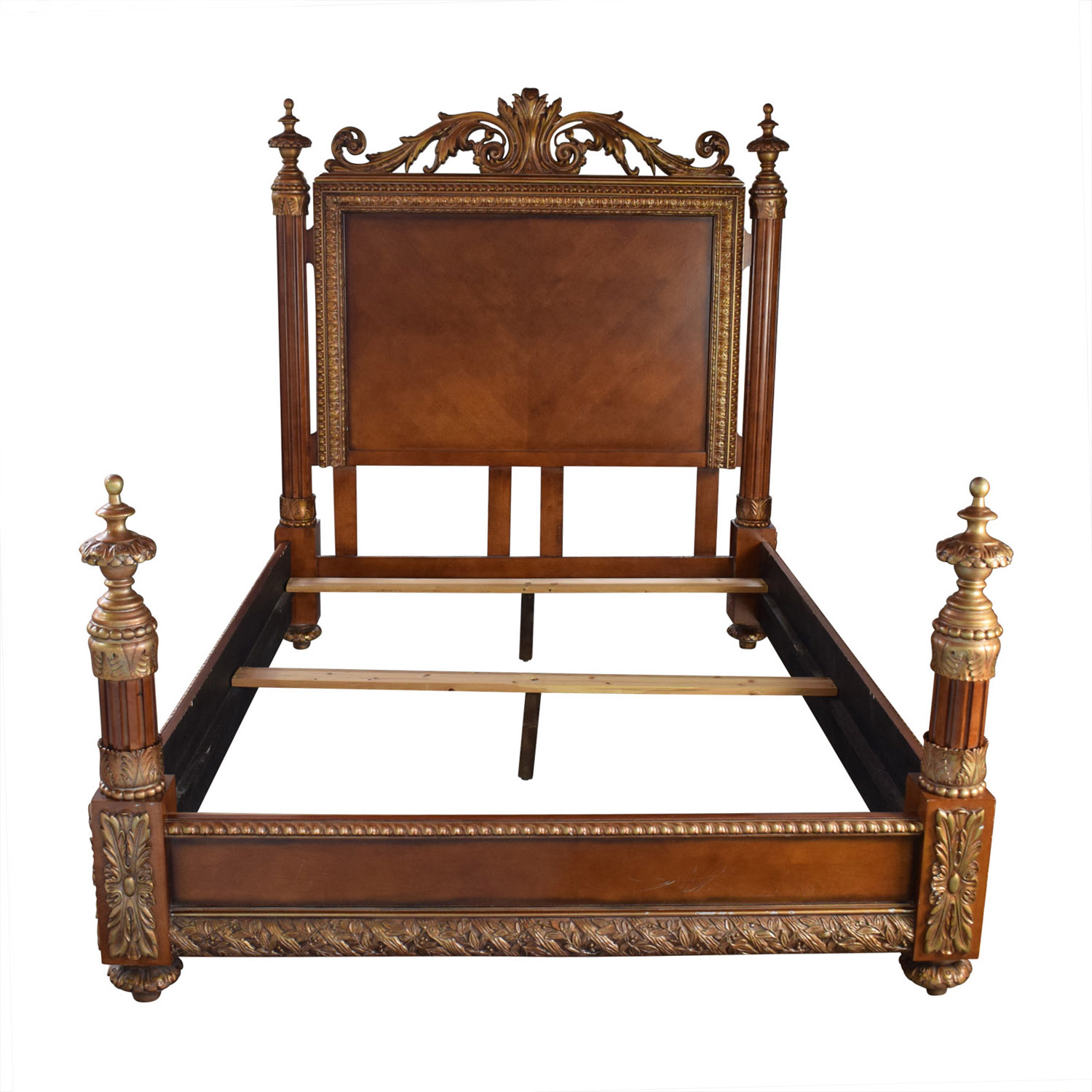 Horchow Horchow Carved Wood Semi-Four Poster Queen Bed Frame price