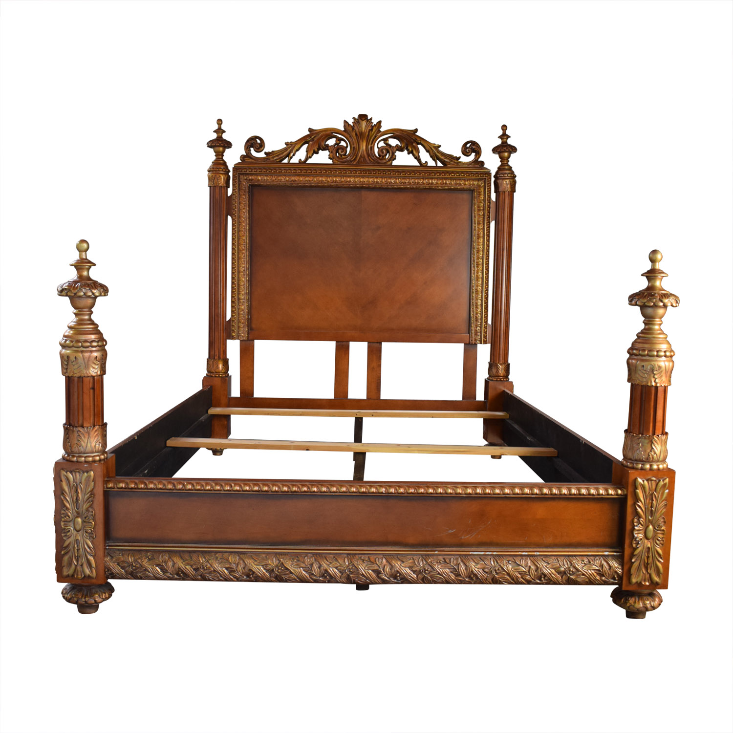 reputable site af02c b7916 82% OFF - Horchow Horchow Carved Wood Semi-Four Poster Queen Bed Frame /  Beds