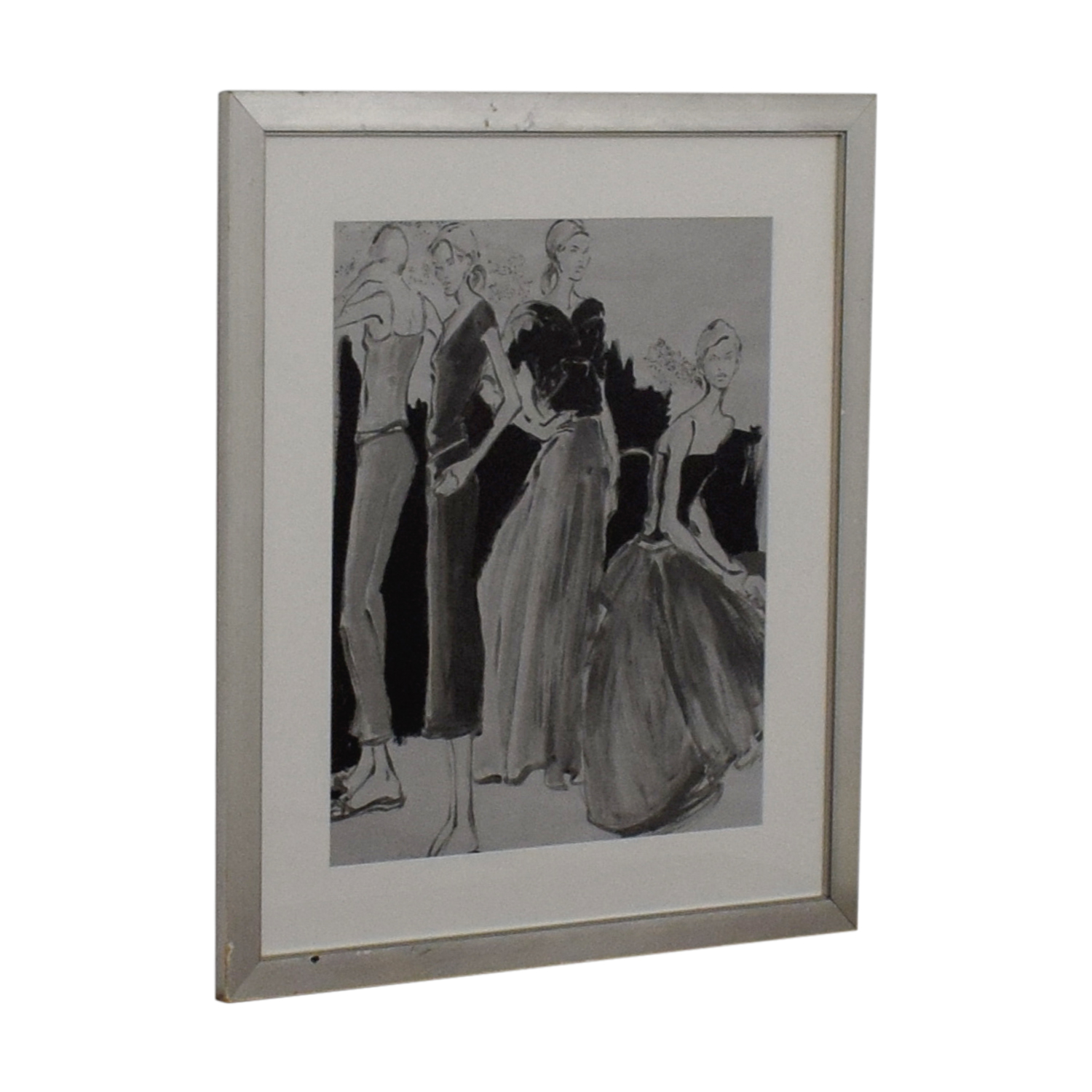 Black and White Fashion Sketch Framed Art Decor