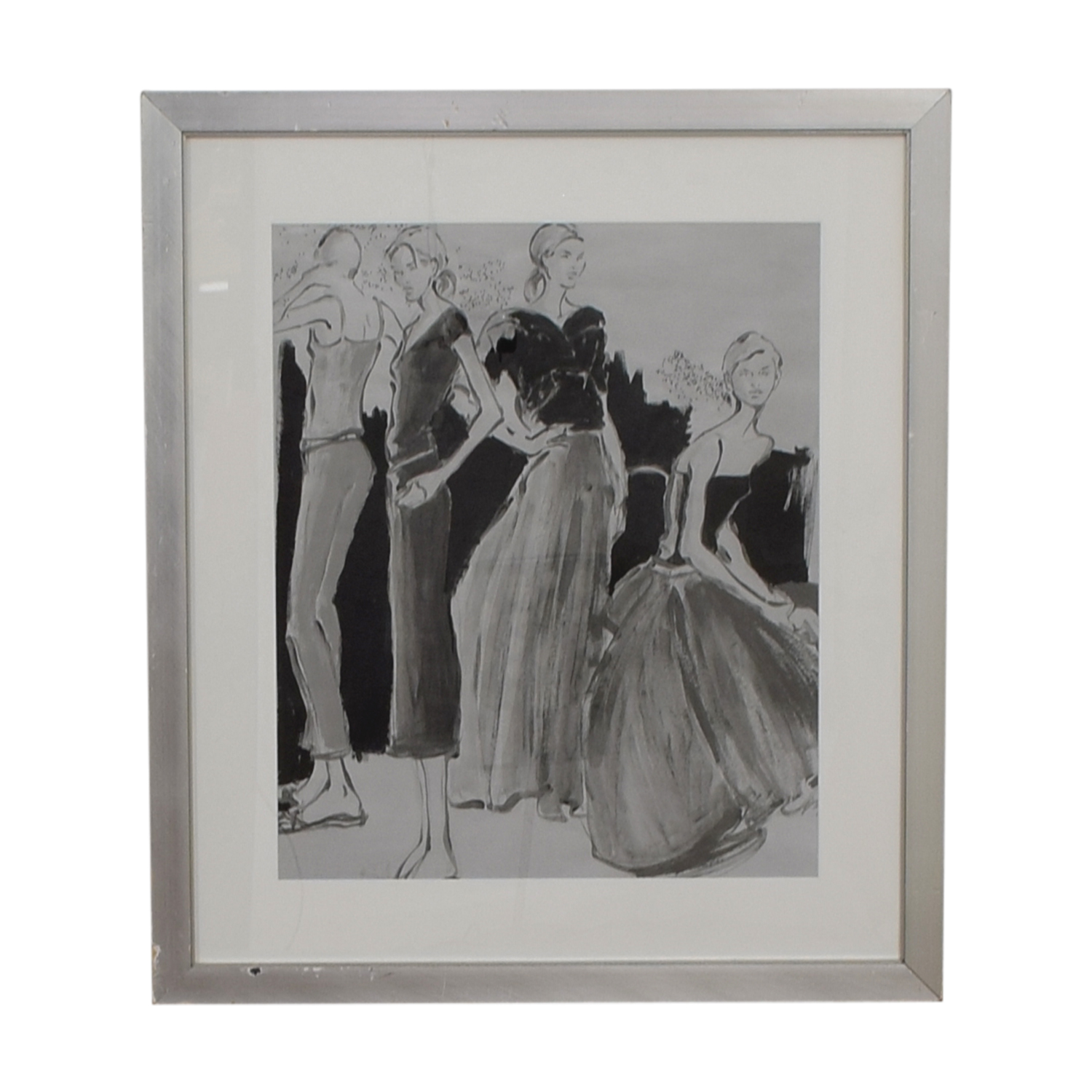 Black and White Fashion Sketch Framed Art discount