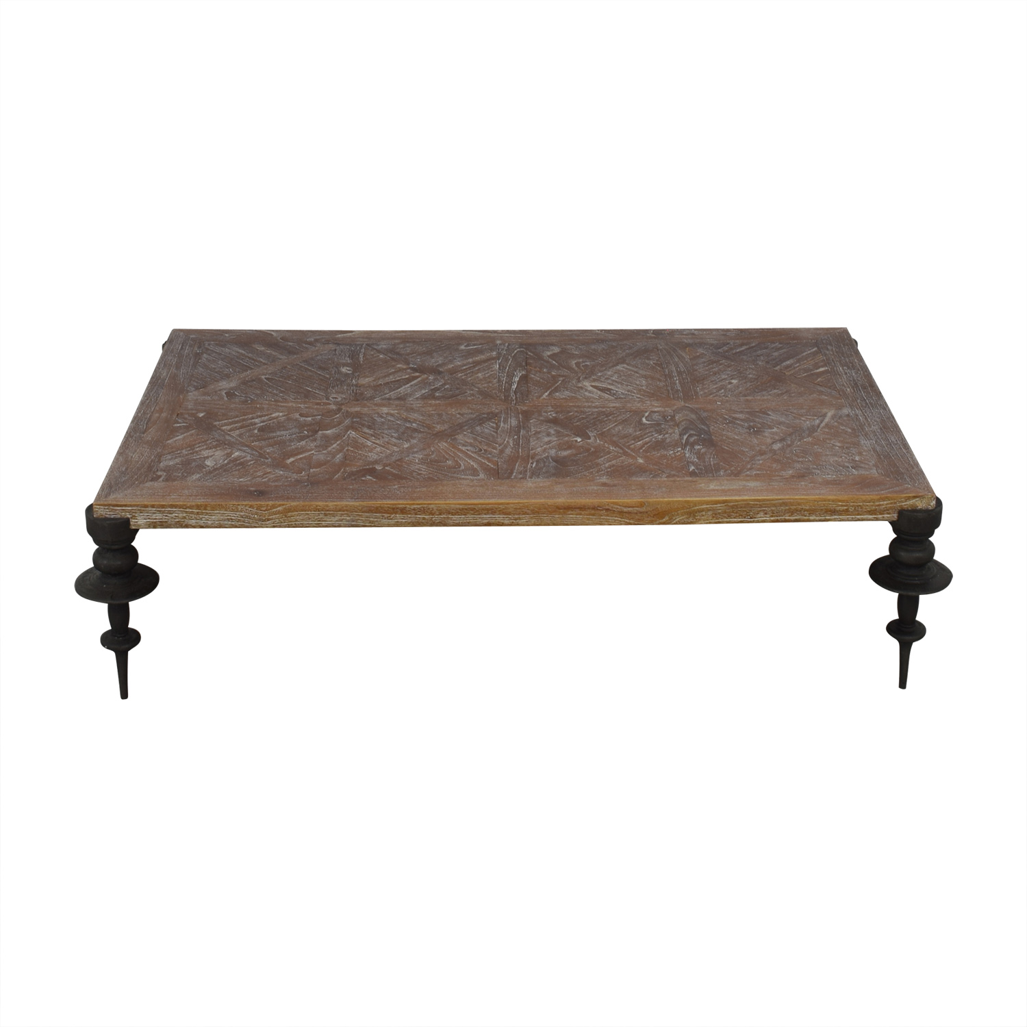 shop Distressed Wood and Iron Leg Coffee Table