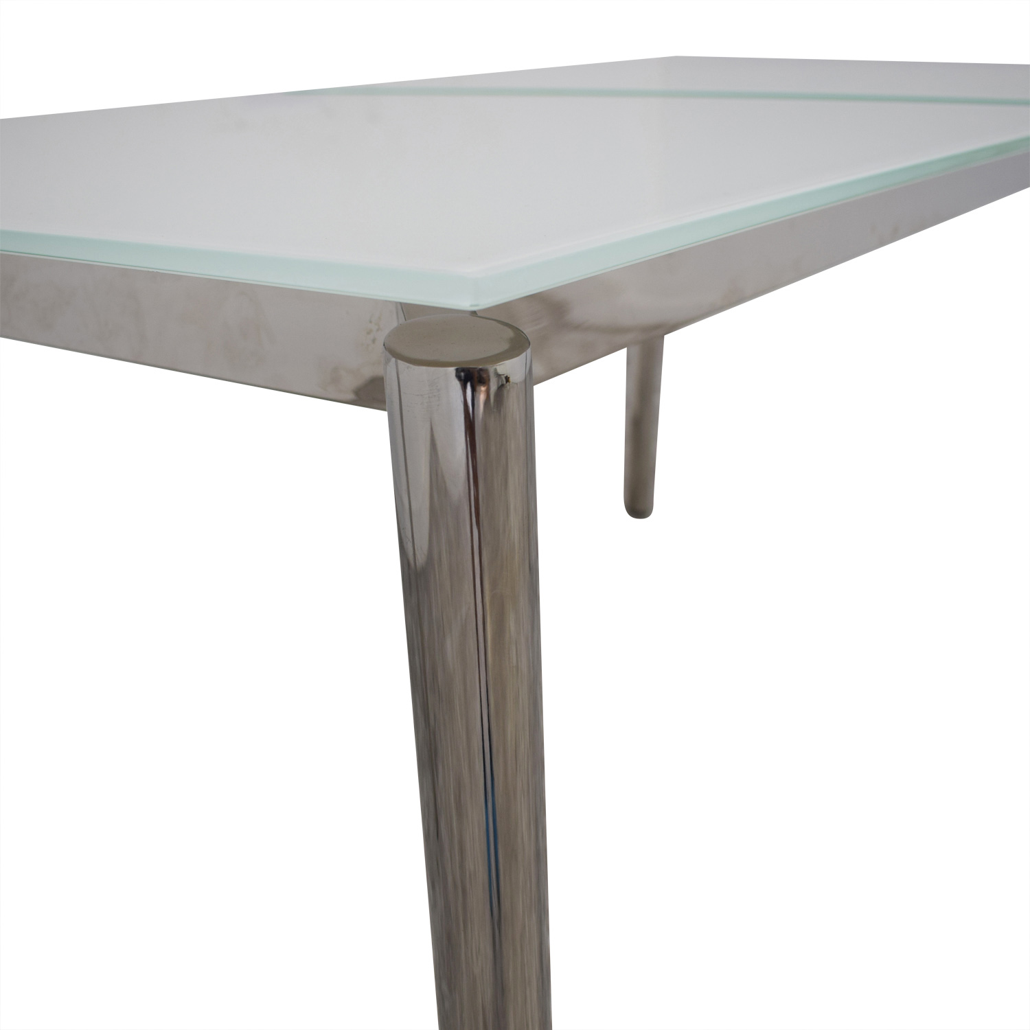 shop Modani Expandable White Glass and Chrome Dining Table Modani