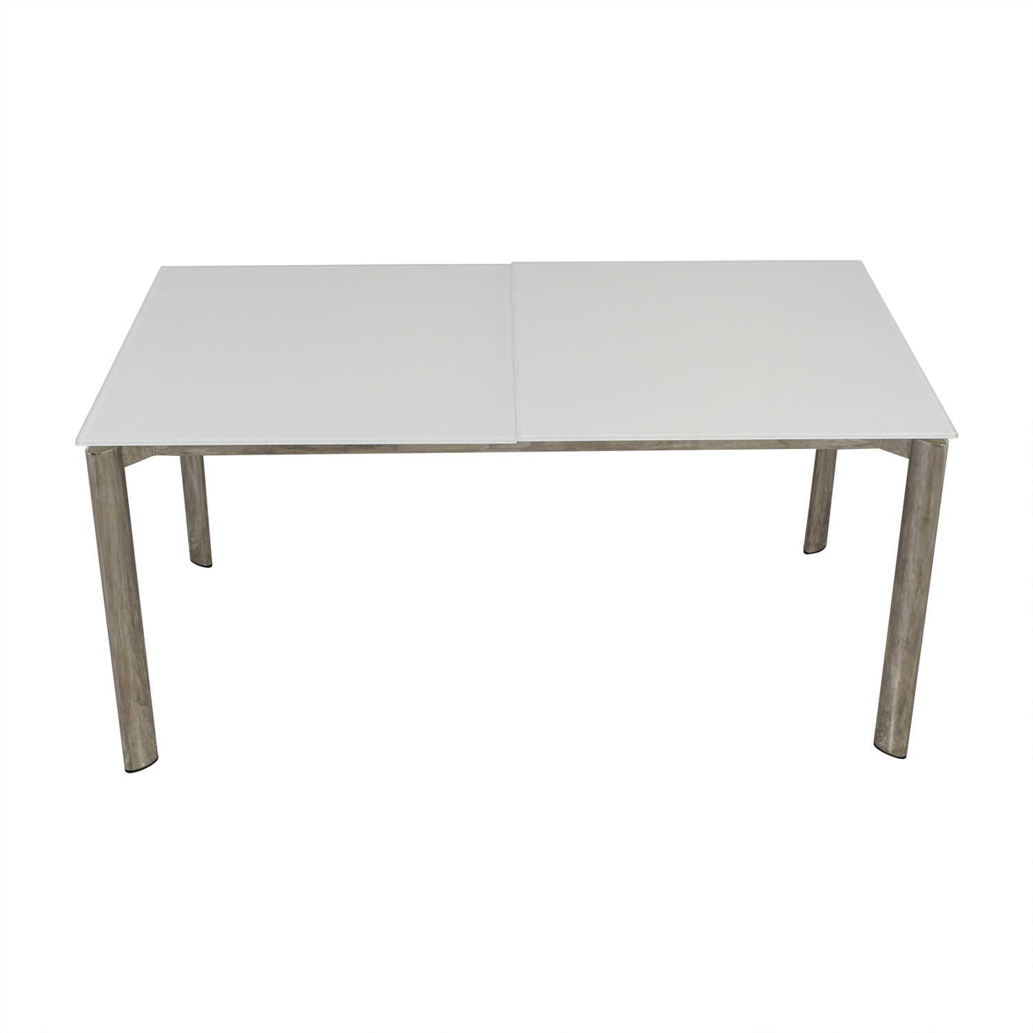 buy Modani Expandable White Glass and Chrome Dining Table Modani
