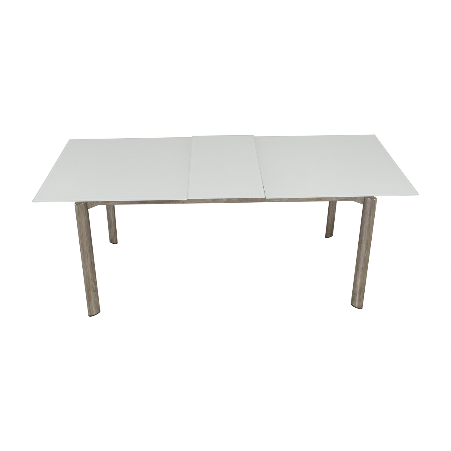 shop Modani Expandable White Glass and Chrome Dining Table Modani Dinner Tables