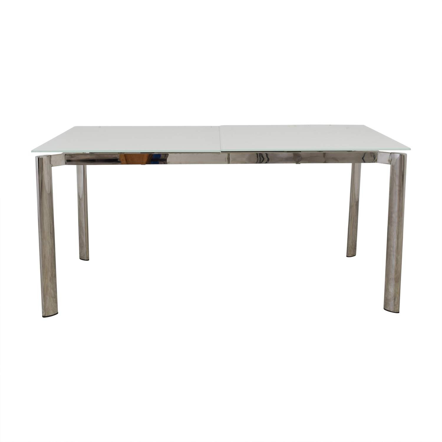 Modani Expandable White Glass and Chrome Dining Table Modani