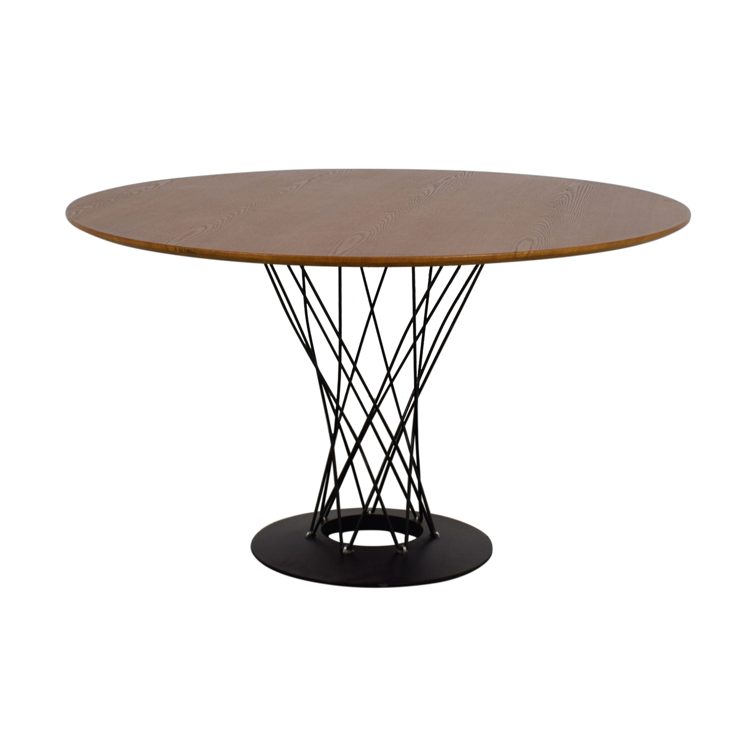 Round Wood and Metal Dining Table nyc