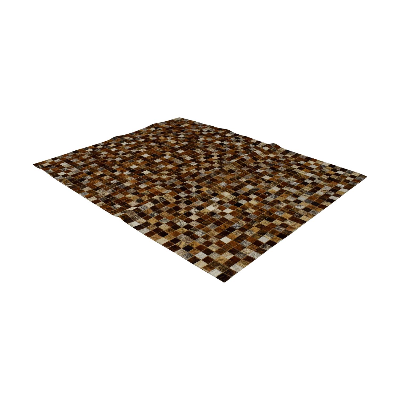 Pony Skin Leather Mosaic Carpet Rugs