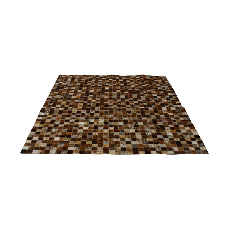 Pony Skin Leather Mosaic Carpet / Rugs
