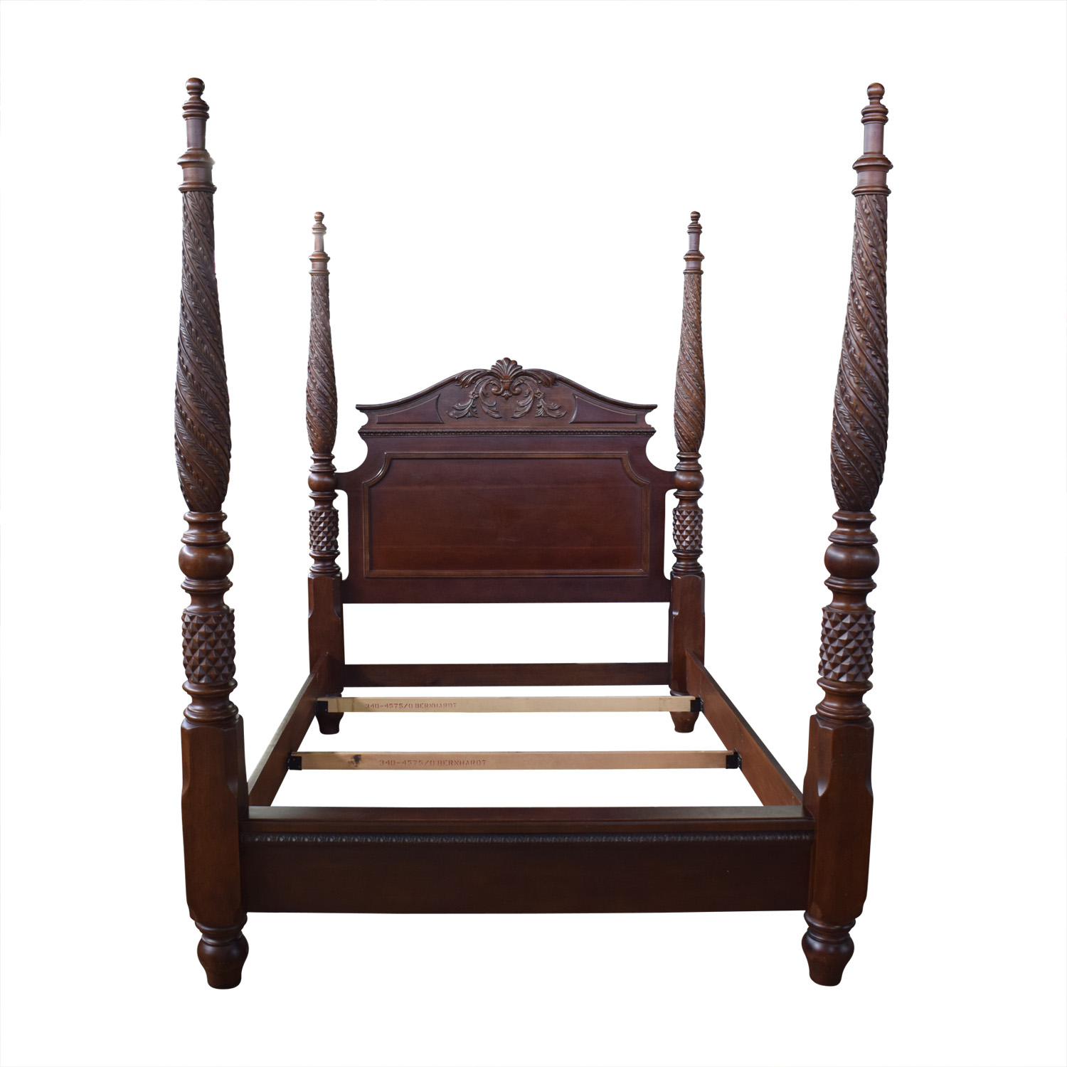Bernhardt Carved Mahogany Queen Bed sale