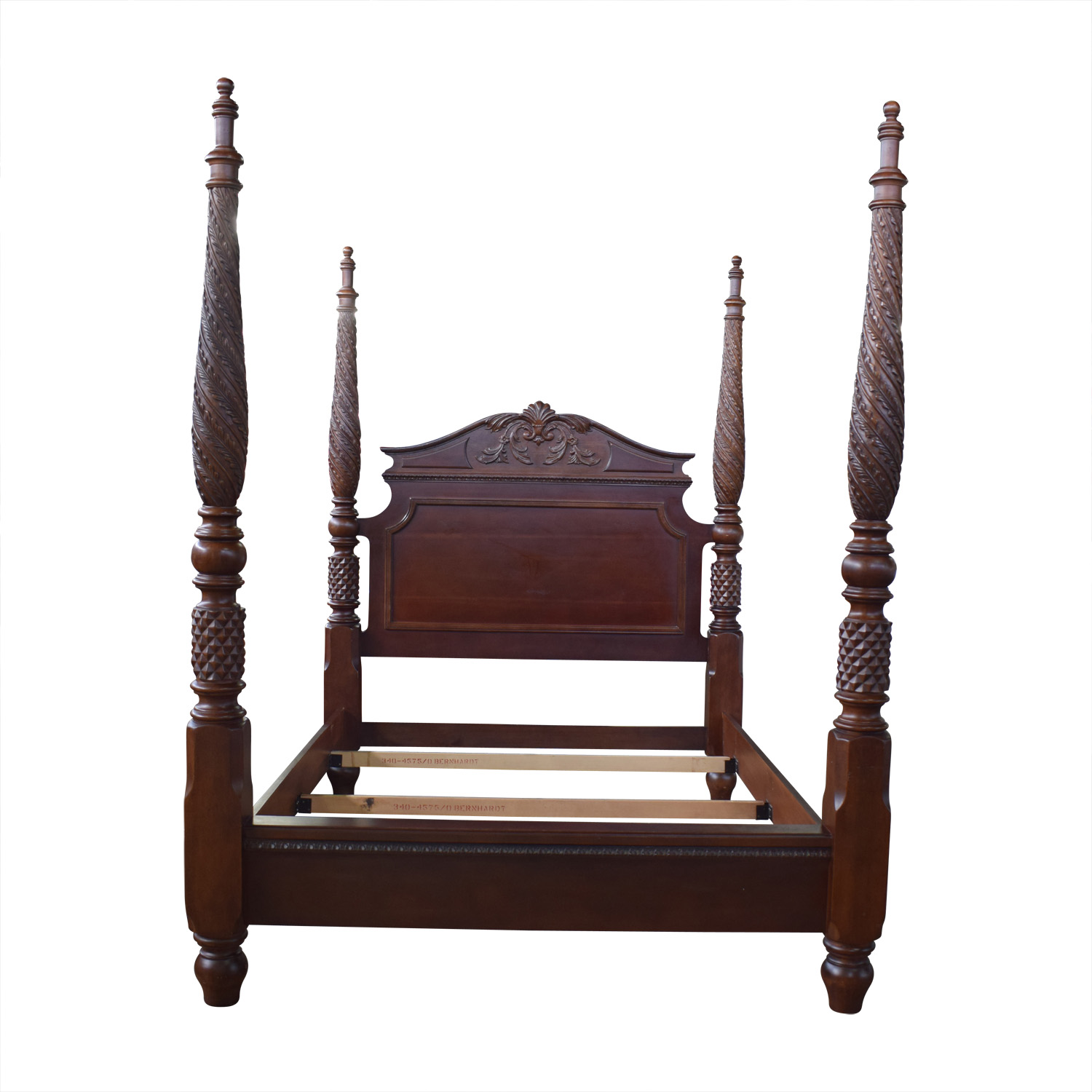Bernhardt Bernhardt Carved Mahogany Queen Bed second hand