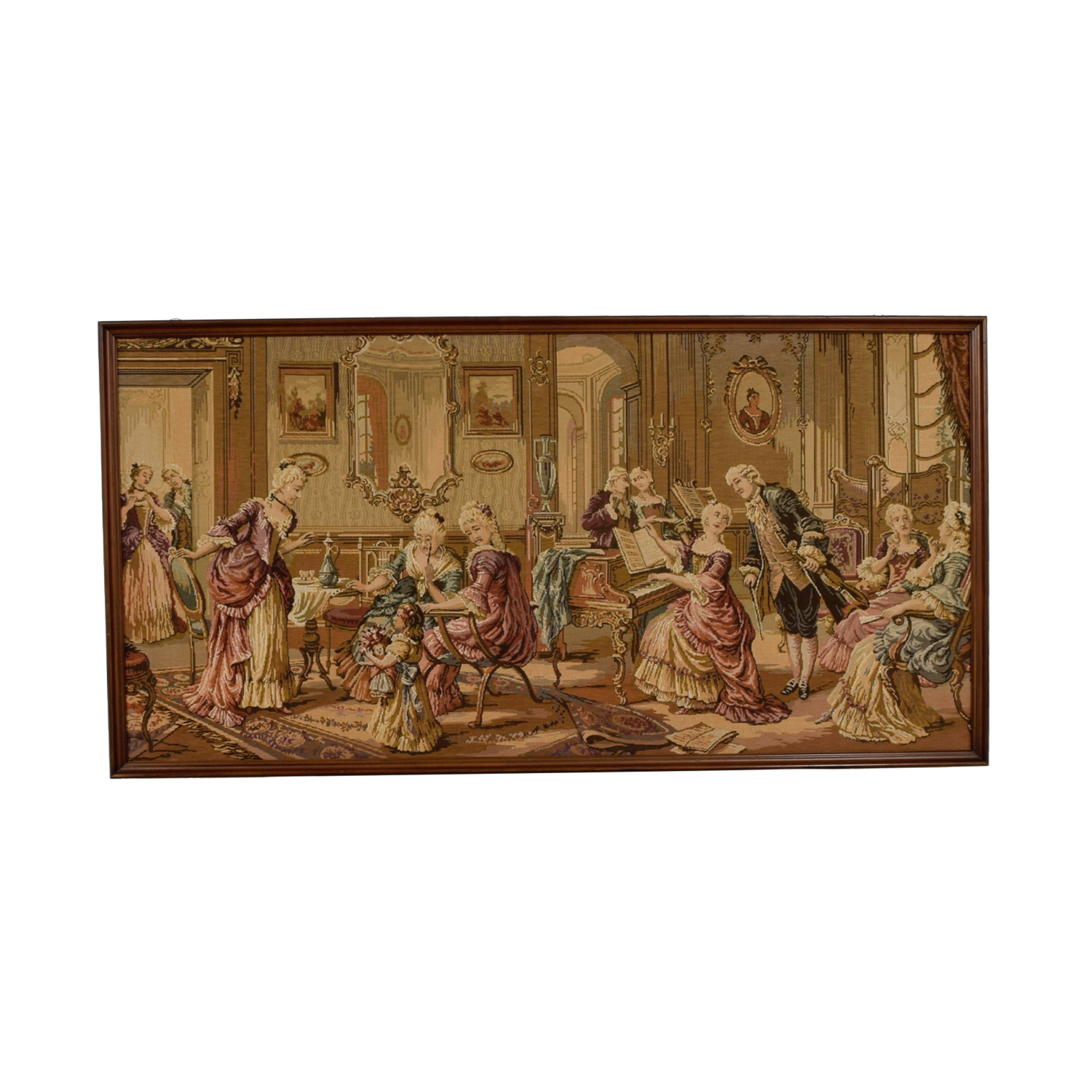 Italian Tapestry in Mahogany Wood Frame sale