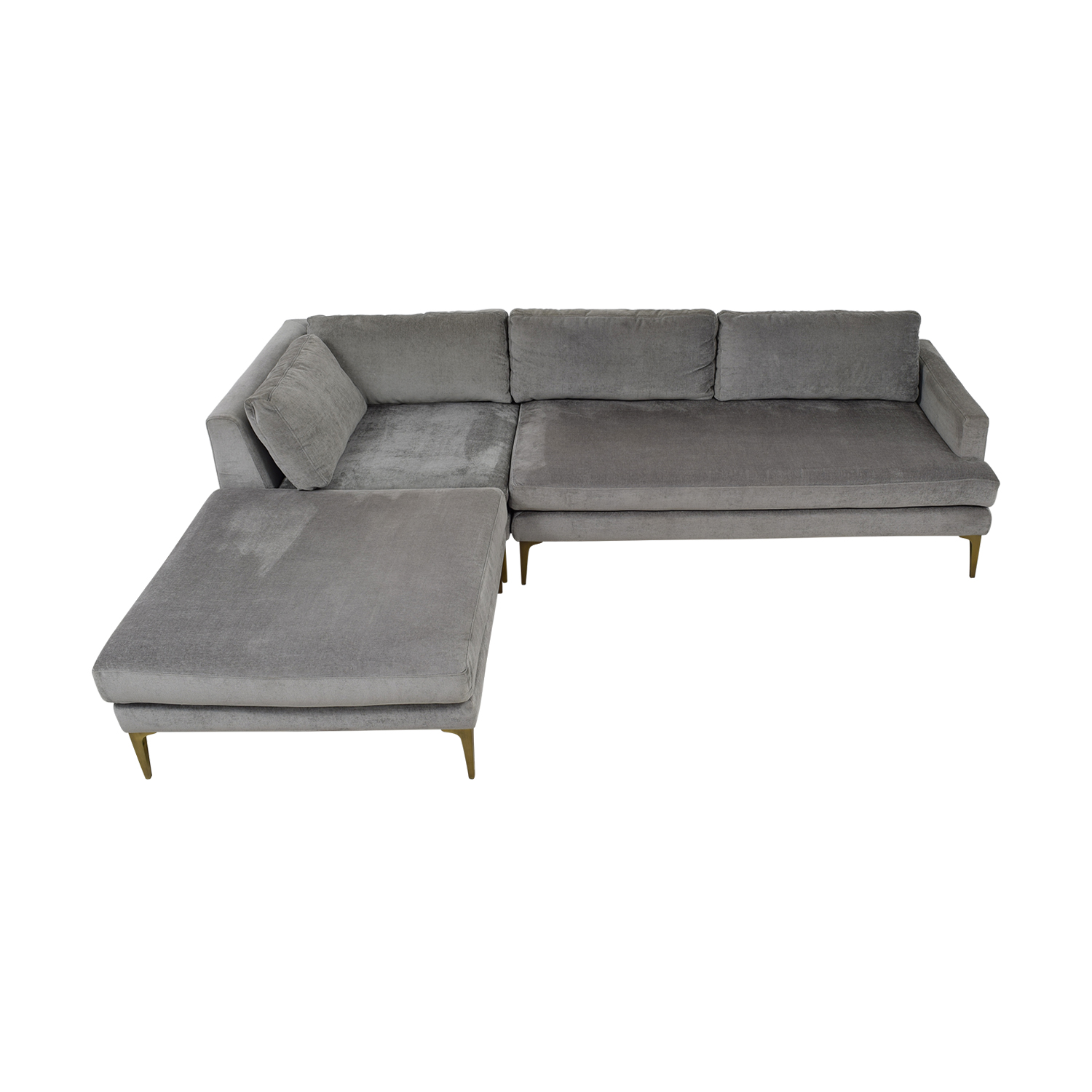 West Elm West Elm Andes Blue Interchangeable Ottoman Chaise Sectional price