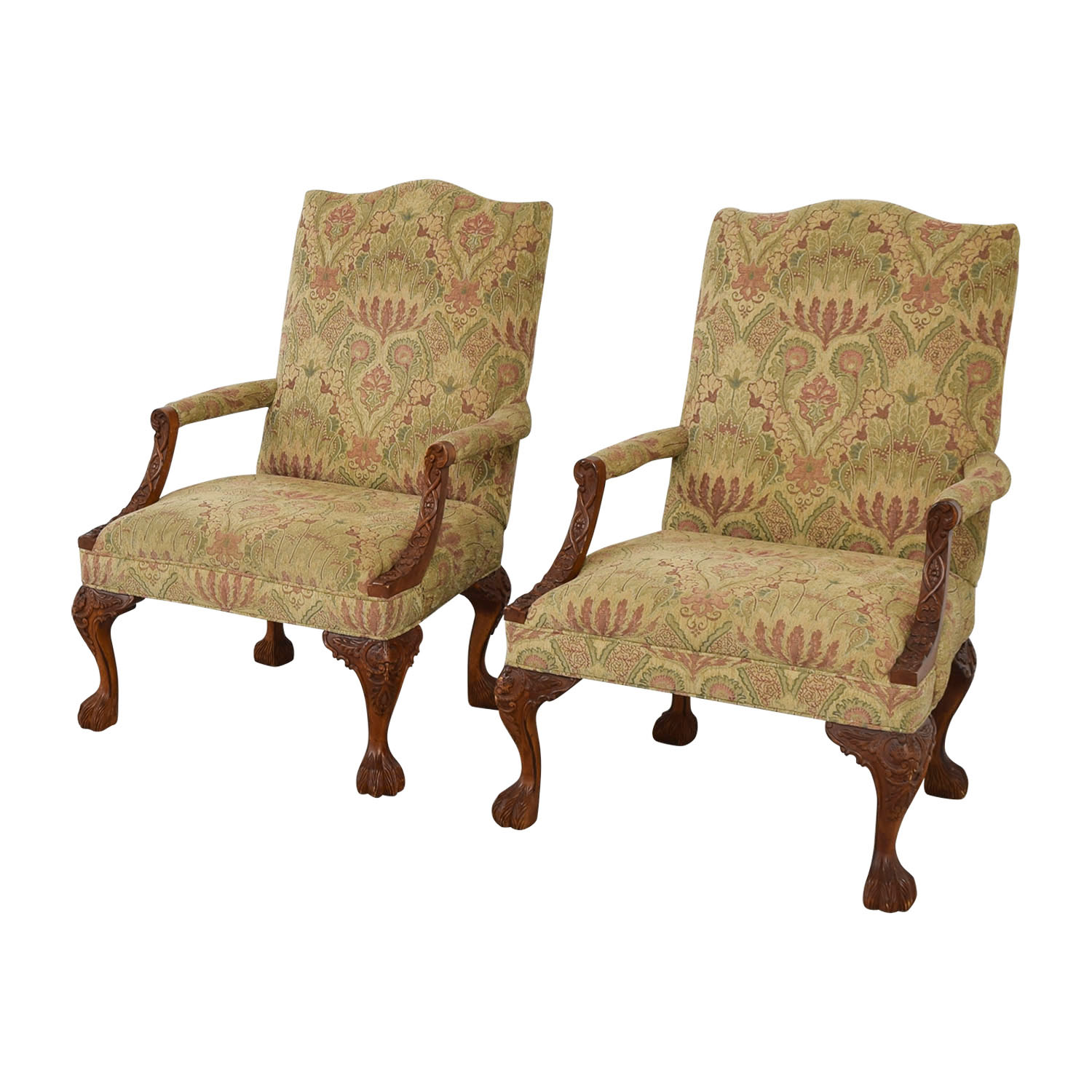 Miraculous 87 Off Sam Moore Sam Moore Tibetan Tapestry Old World Finish Carved Wood Chairs Chairs Machost Co Dining Chair Design Ideas Machostcouk