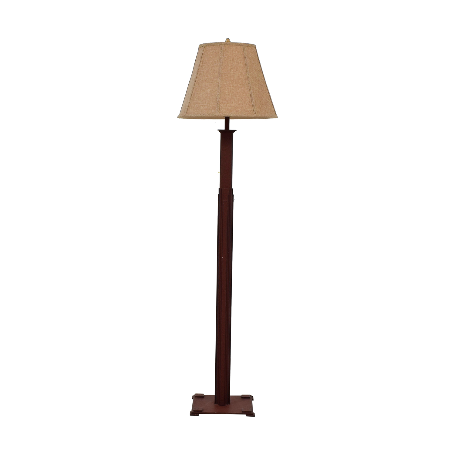 Distressed Burlap Shade Floor Lamp for sale