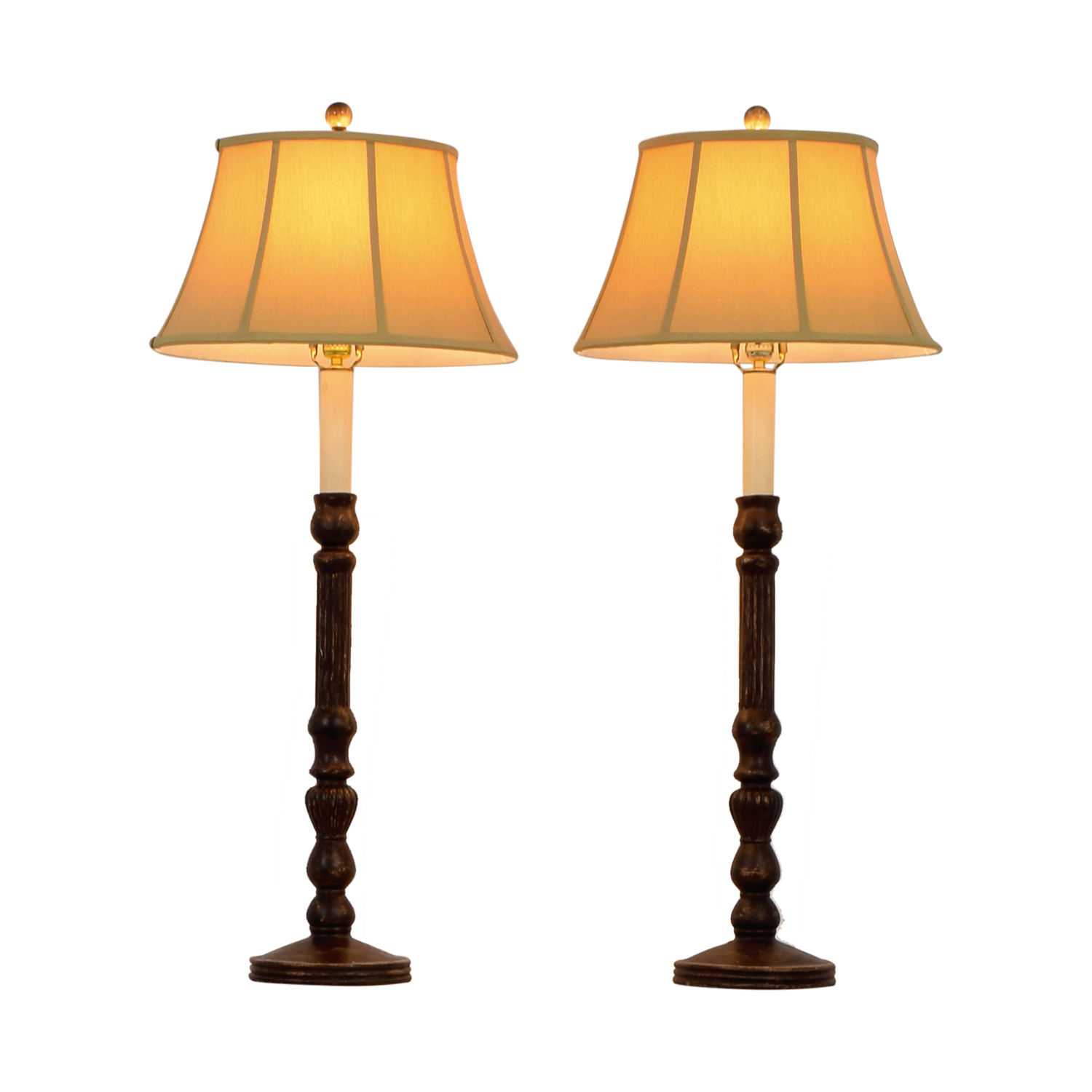 Barbara Cosgrove Barbara Cosgrove Distressed Tall Table Lamps with Silk Shades on sale