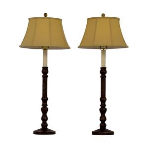 Barbara Cosgrove Barbara Cosgrove Distressed Tall Table Lamps with Silk Shades used