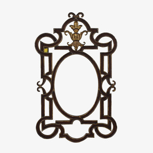 La Barge La Barge Distressed Carved Wood Wall Mirror