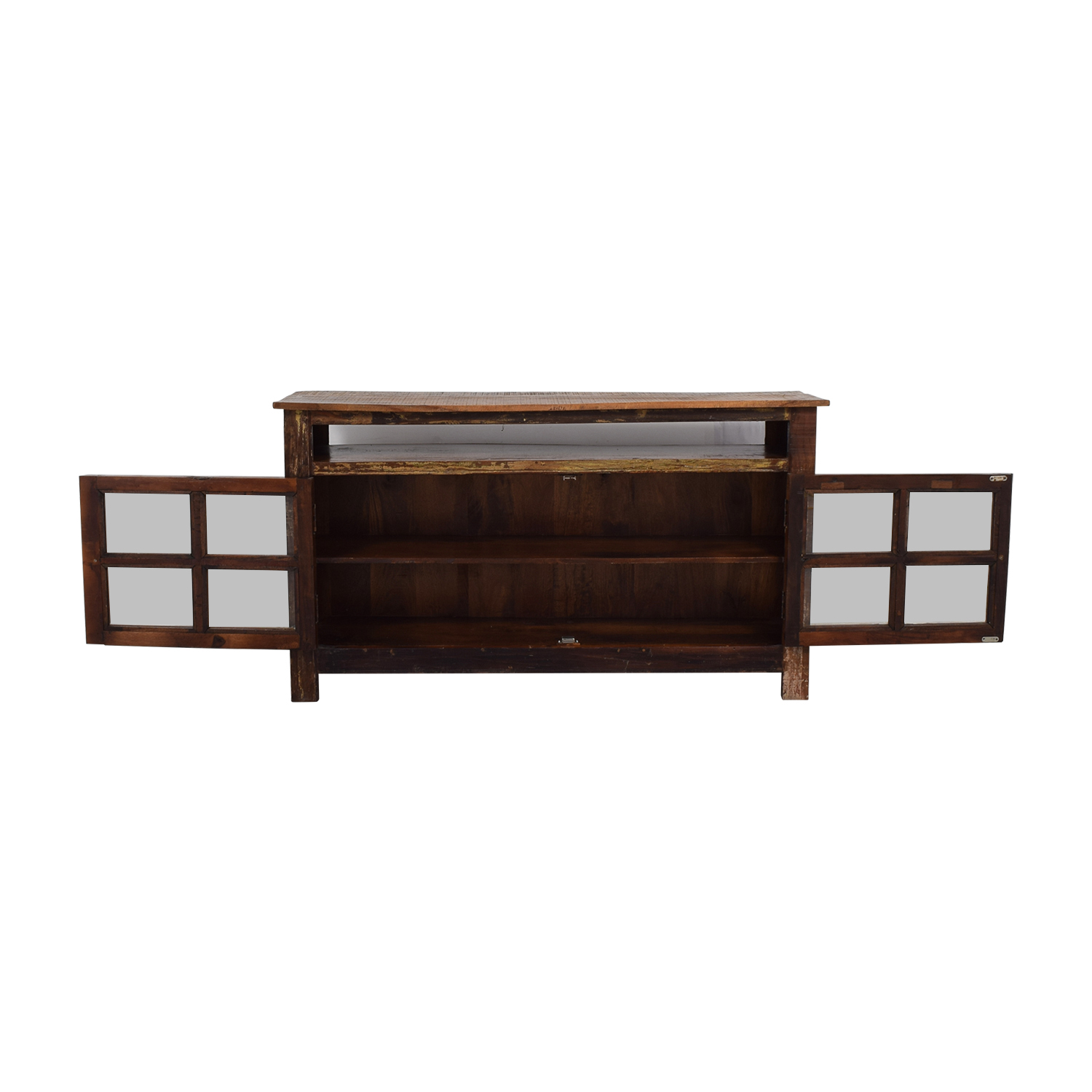 Custom Rustic Distressed Wood TV Console on sale