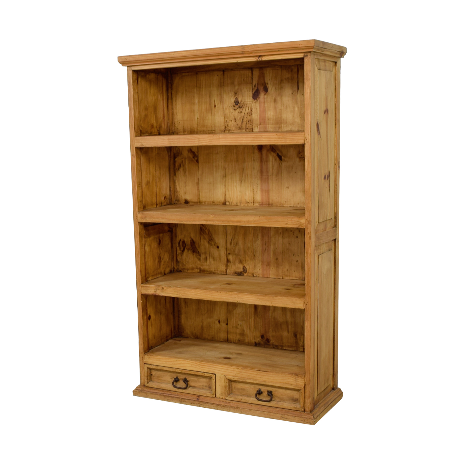 Natural Rustic Wood Bookshelf with Two-Drawers dimensions