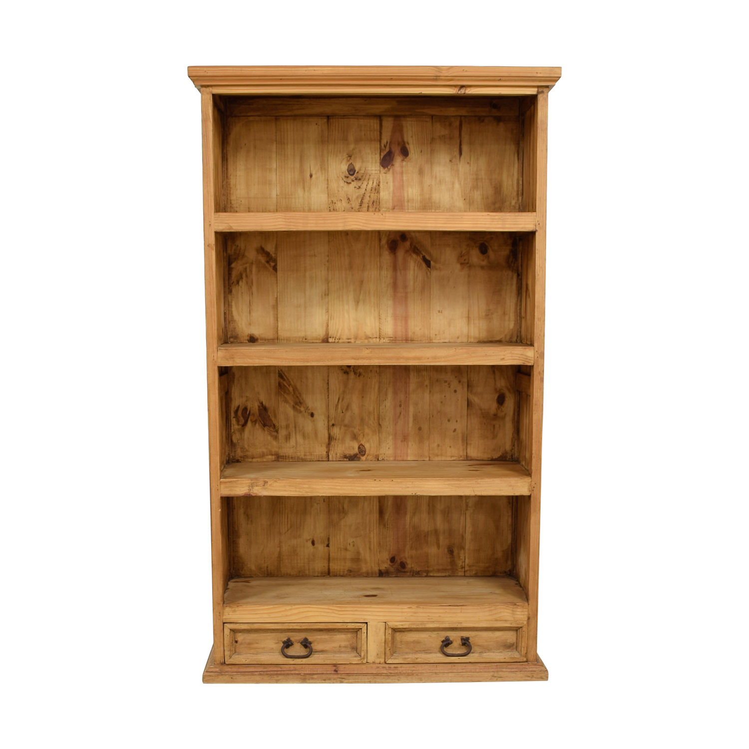 shop Natural Rustic Wood Bookshelf with Two-Drawers  Bookcases & Shelving