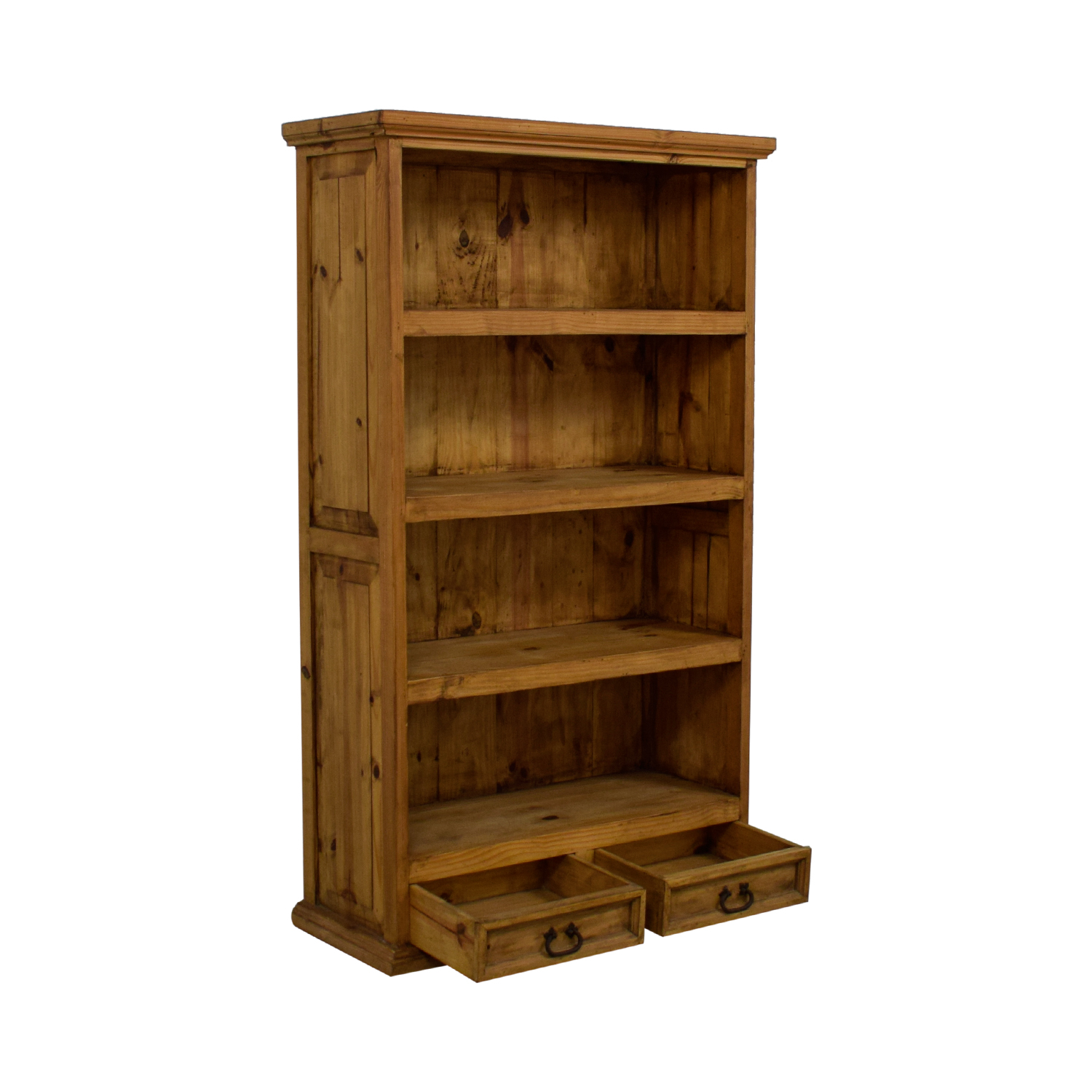 Natural Rustic Wood Bookshelf with Two-Drawers