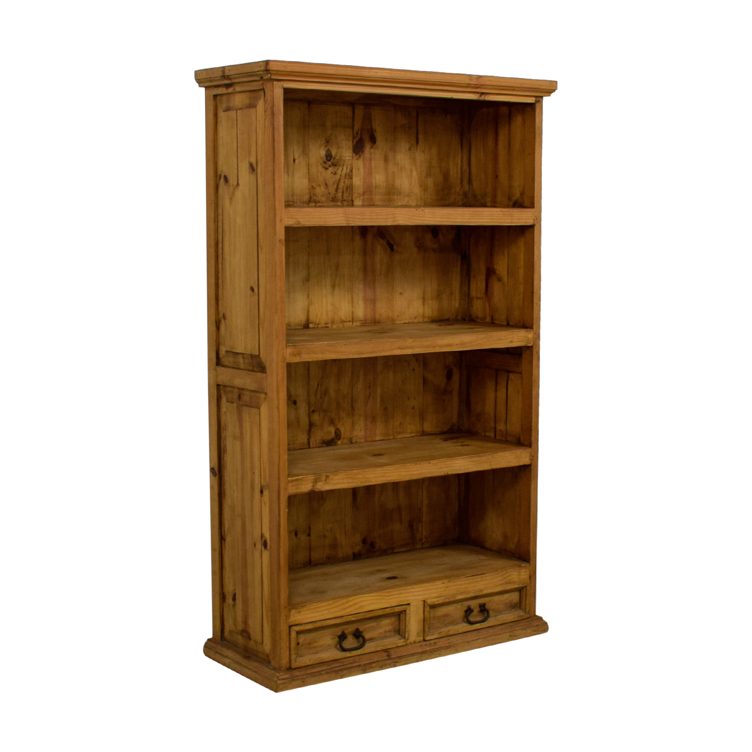 Natural Rustic Wood Bookshelf with Two-Drawers for sale