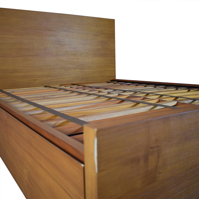 West Elm Nash Metal and Teak Queen Platform Bed Frame with Storage / Beds