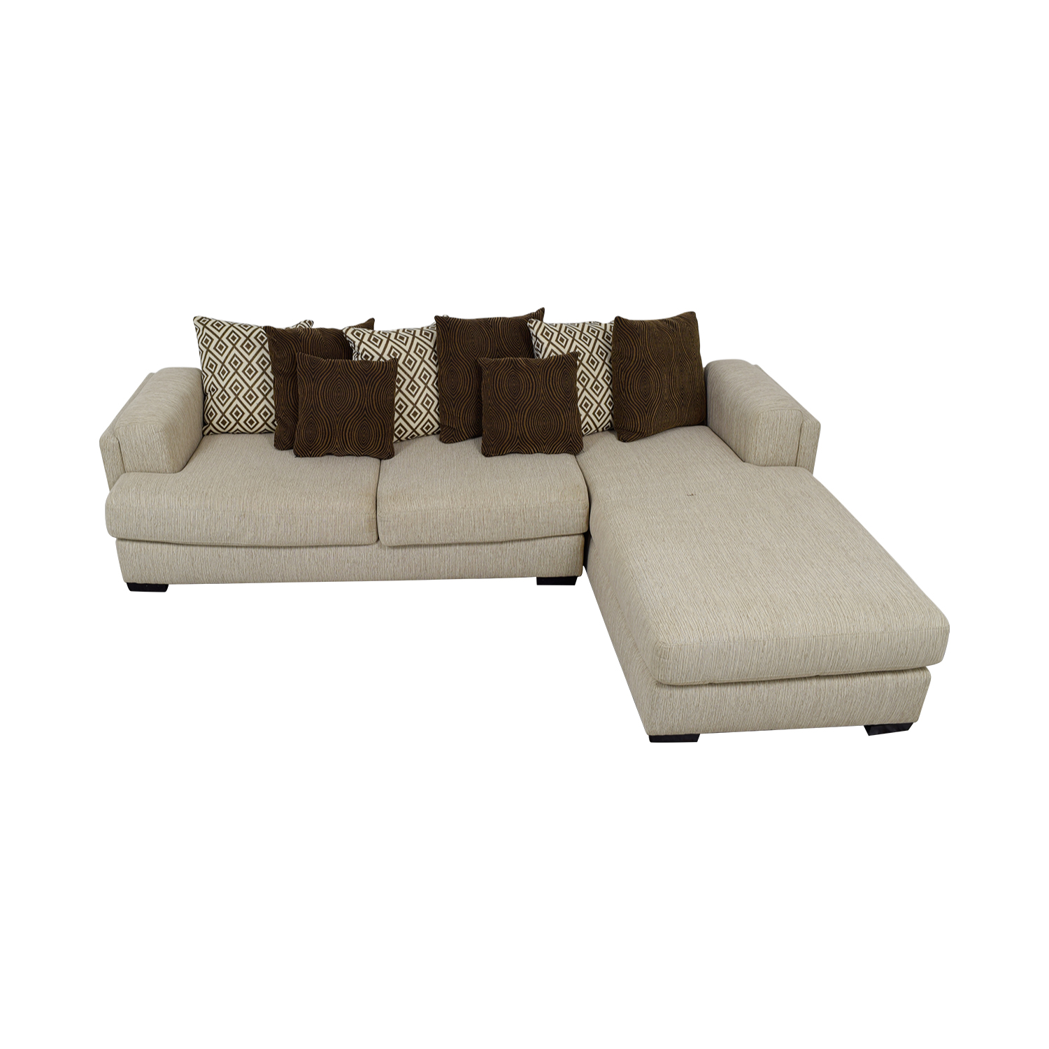 Raymour & Flanigan Urbanity Beige Chaise Sectional / Sofas