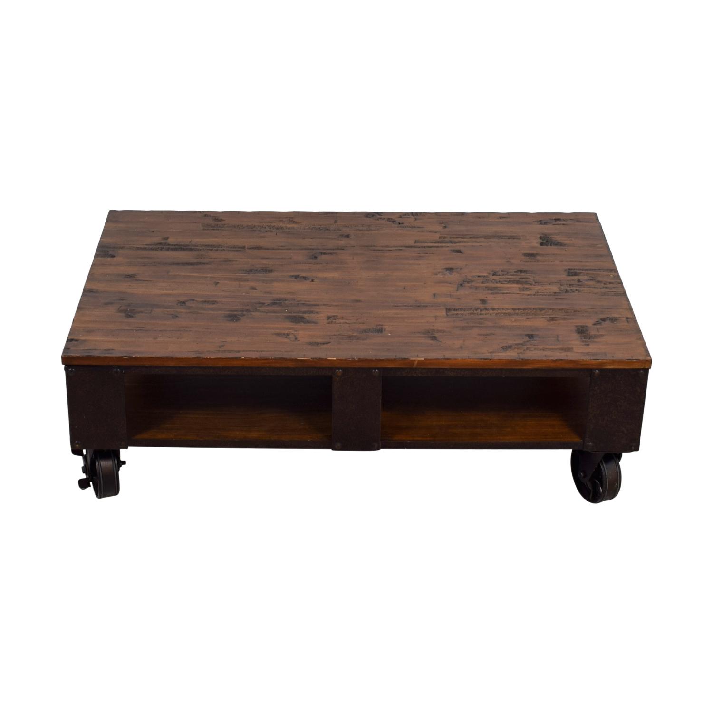 buy Magnussen Magnussen T1755 Pinebrook Distressed Natural Pine Wood Rectangular Cocktail Table online