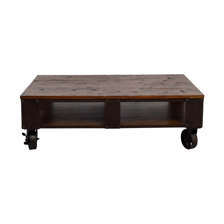 Magnussen Magnussen T1755 Pinebrook Distressed Natural Pine Wood Rectangular Cocktail Table
