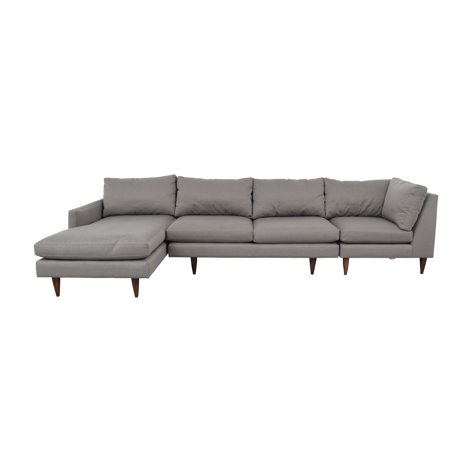 55 off room board room board jasper grey chaise sectional sofas