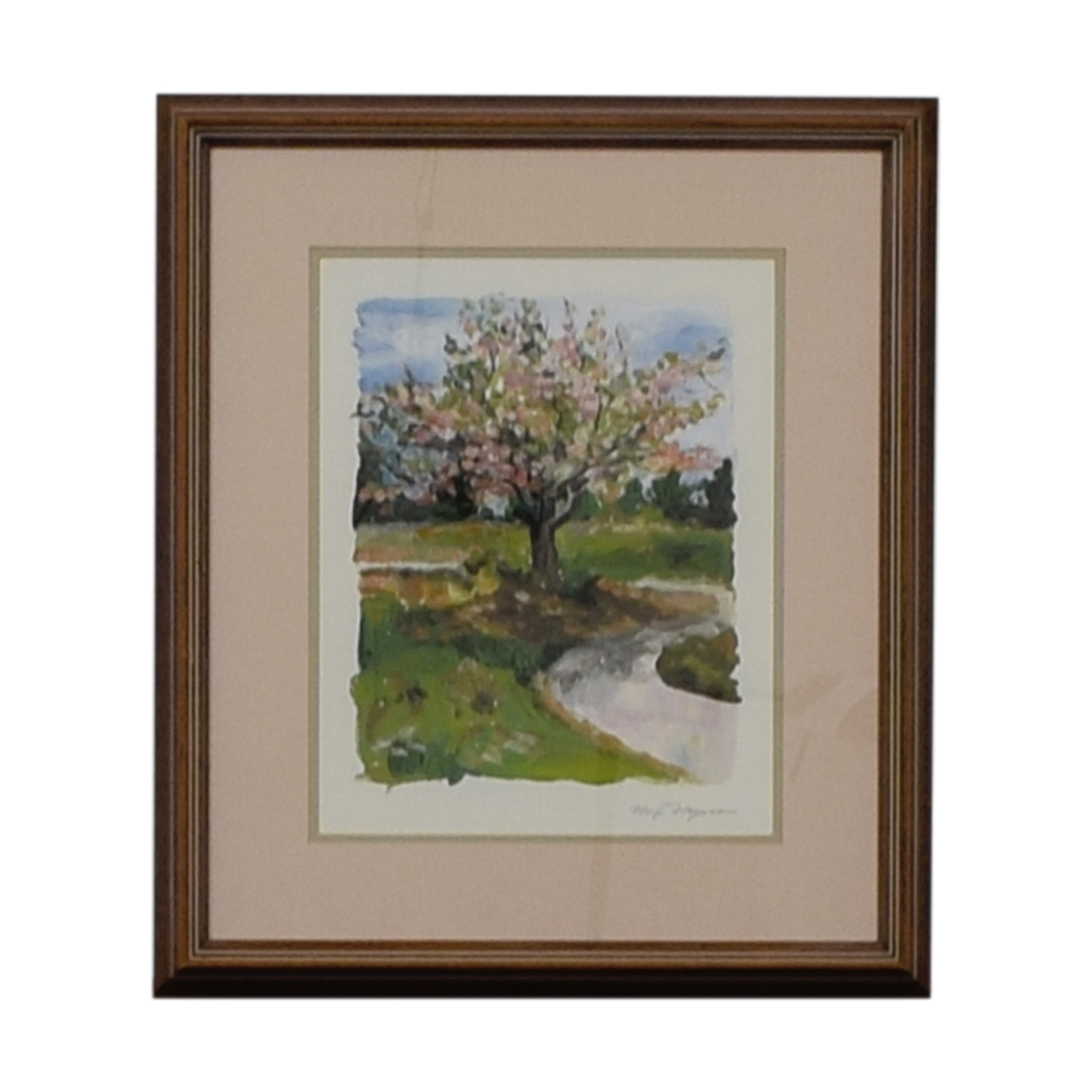 Margi Hageona Margi Hageona Signed  Watercolor Blossoms in Springtime
