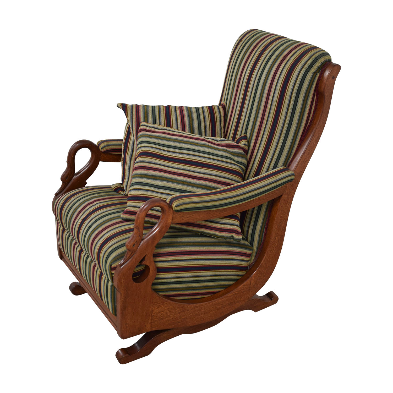 Stupendous 90 Off Cherry Gooseneck Striped Platform Rocker Chairs Ibusinesslaw Wood Chair Design Ideas Ibusinesslaworg