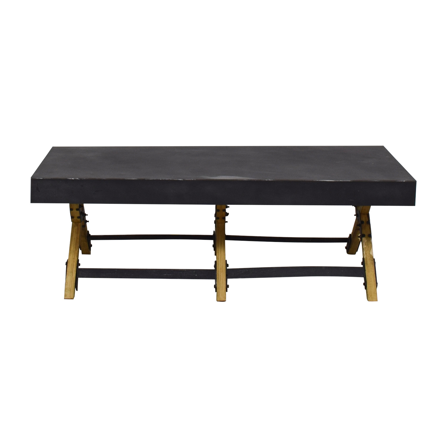 Metal and Wood Black Coffee Table