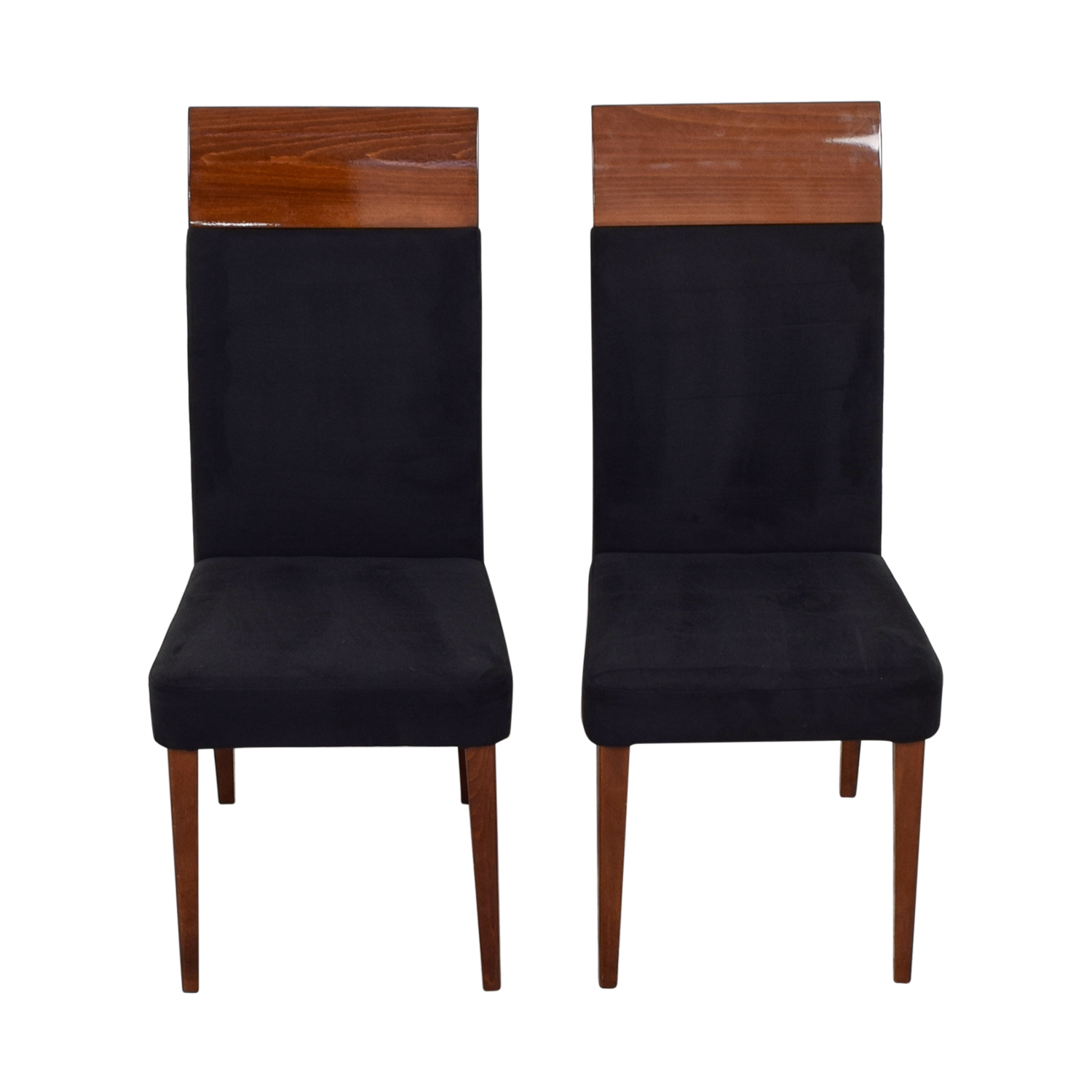 Black upholstered wood dining chairs chairs